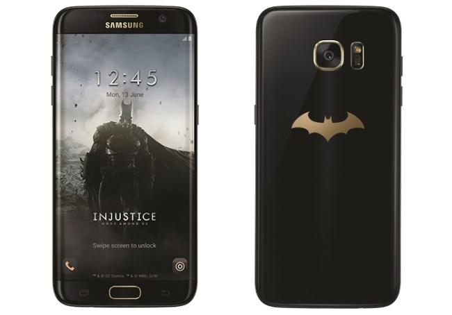 """Die neue Design-Variante """"Injustice Edition"""" des Samsung-Smartphones """"Galaxy S7 Edge"""" trägt ein goldenes Batman-Logo auf der Gehäuserückseite. (Foto: Samsung)"""