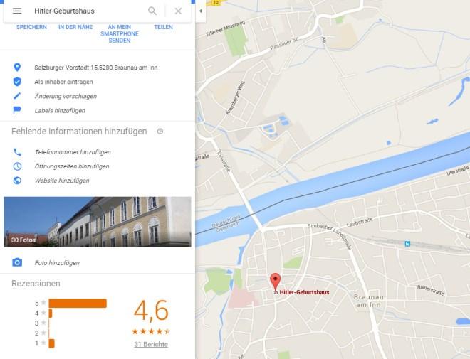 4,6 Bewertung für Hitlers Geburtshaus in Braunau. Das hätte selbst Hitler nicht für möglich gehalten.