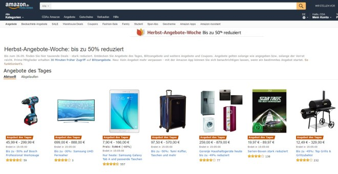 Und wieder einmal gibt es reduzierte Ware bei Amazon (Screenshot amazon.de)