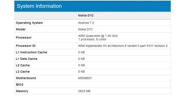Nokia D1C Geekbench