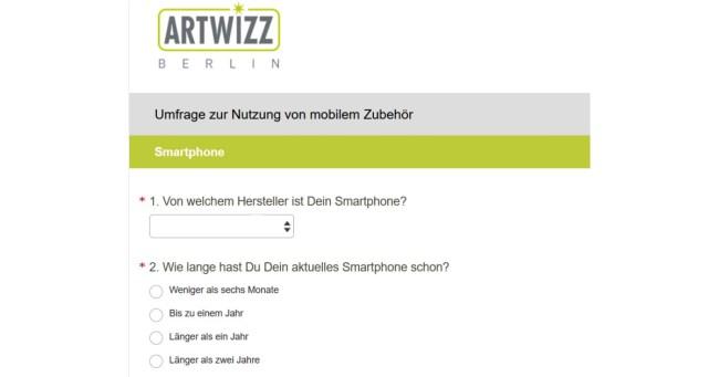Die 30 Fragen der Artwizz-Umfrage sind schnell beantwortet. Deutlich mehr als fünf Minuten solltest du für das Teilnehmen nicht benötigen. (Bildschirmfoto der Artwizz-Umfrage)