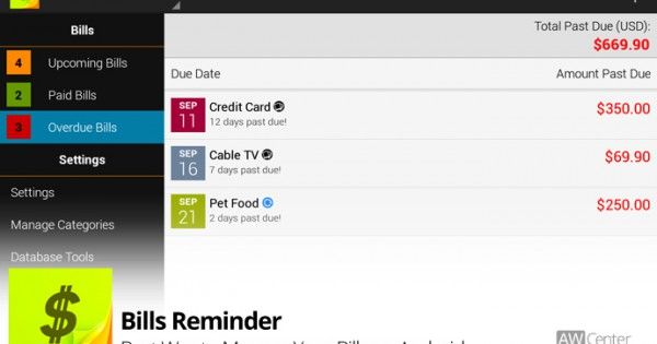 Bills Reminder Best Way To Manage Your Bills on Android AW Center