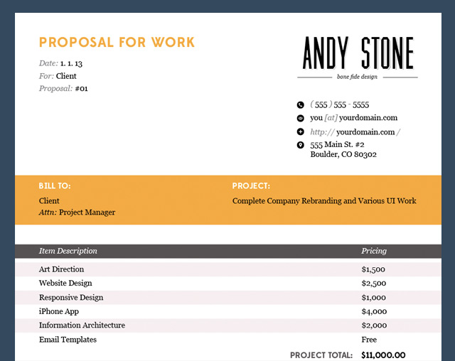 andyis wp-content uploads 2013 08 proposal-design-template - how to make a invoice