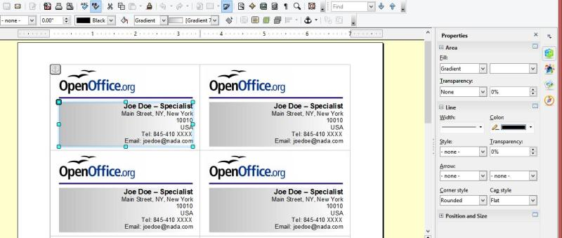 Creating your own business cards in libreoffice and apache for Card template open office