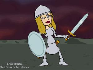Erika Martin con escudo y espada