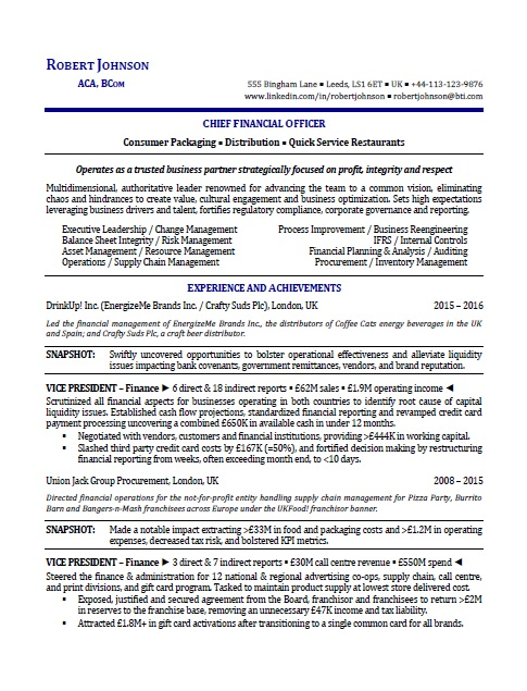 Sample International Executive Resume Resume Writing Services