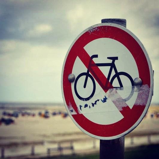 No bikes allowed at the beach in Neuharlingersiel, Germany