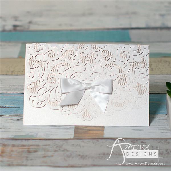 Heart Swirls Tri-Fold Card With Bow - Aneva Designs, LLC