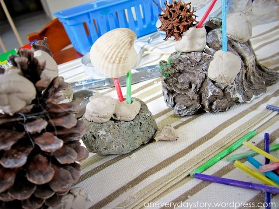 reggio clay sculptures preschoolers Its Not Just a Stick: A Simple Nature Table