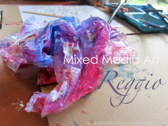 reggio emilia at home mixed media art activities Reggio: Mixed Media Art   Exploring with Plastic Wrap