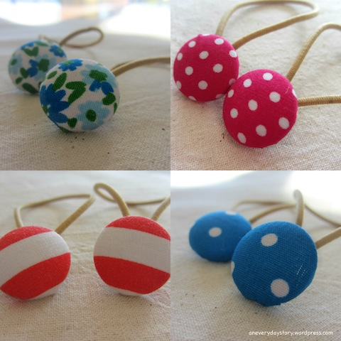 covered button hair ties simple tutorial Sweet Covered Button Hair Ties