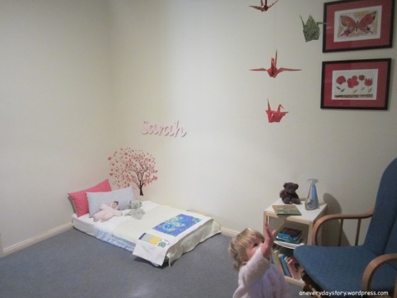 montessori bedroom for toddlers origami crane mobile Sarahs Room: Growing with Her