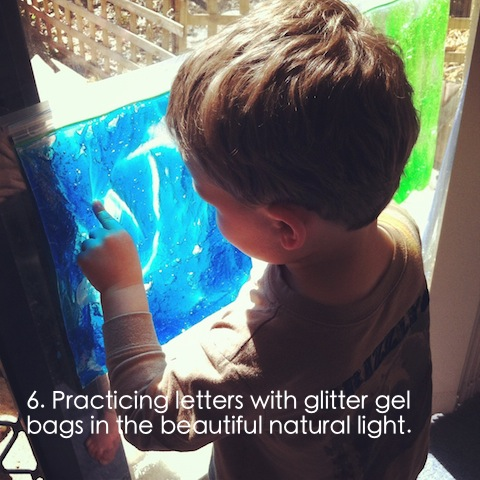 prewriting activities for preschoolers using sensory gel bags an everyday story This Week 4/52