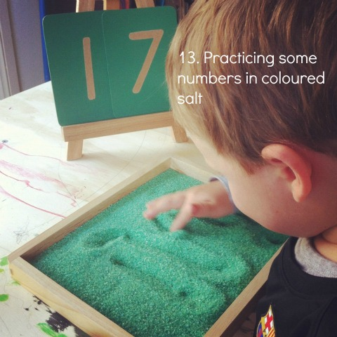 montessori literacy activity sand tray using coloured salt an everyday story This Week…7/52