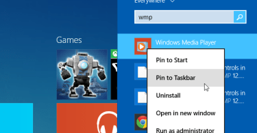 how to find Windows Media Player in Windows 8.1