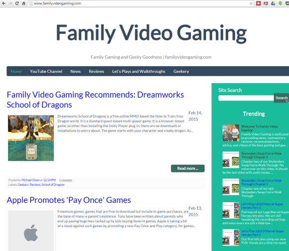 Family Video Gaming website