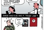 Ted Rall cartoon: Crazy cops, Nazis and Burning Questions