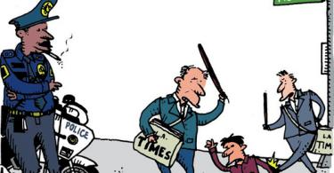 ted rall vs la times vs lapd cartoon