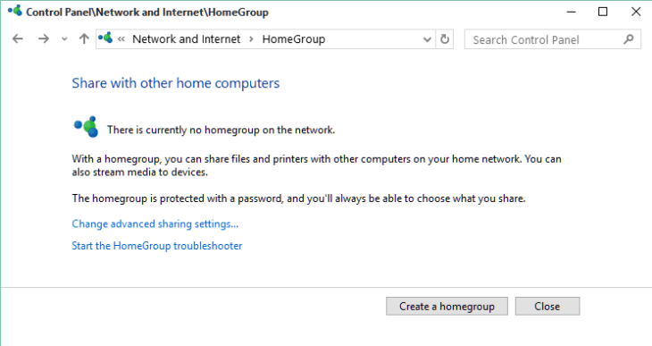 Homegroup control panel screen How to Create a Windows 10 Homegroup