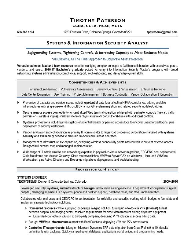 IT Security Analyst Sample Resume - Executive resume writer