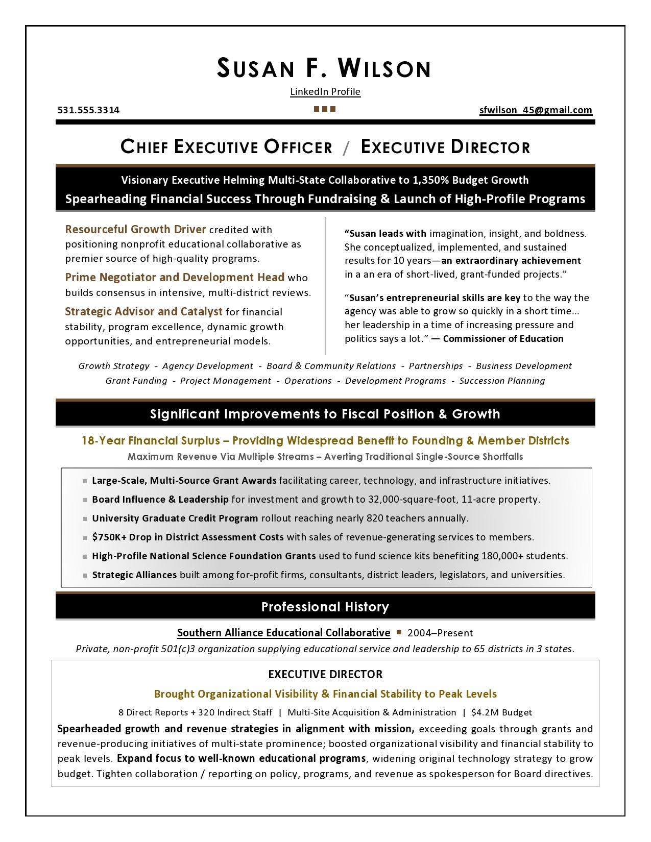 resume writing for executives