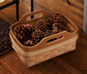 Leather Crest Small Gathering Basket - Handmade by Longaberger Basket Weavers | http://www.longaberger.com/lifestyle