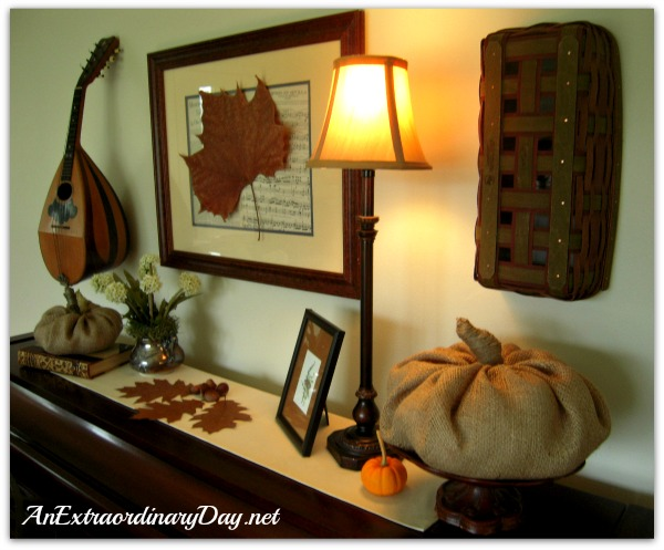 AnExtraordinaryDay.net - Piano Vignette with Burlap Pumpkins & Leaves