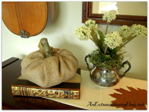 AnExtraordinaryDay.net | Vignette in Browns and Tans for Thanksgiving | Burlap Pumpkin