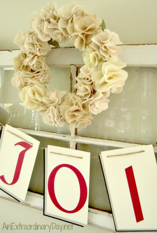 Fabric Flower Wreath on Vintage Window | AnExtraordinaryDay.net