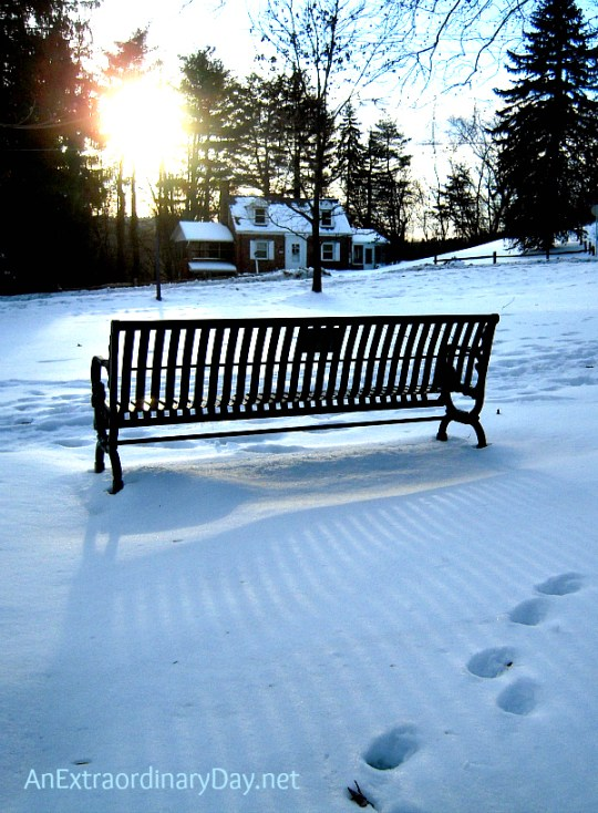 Park Bench at Sunset - Hebrews 4 vs.16 - AnExtraordinaryDay.net