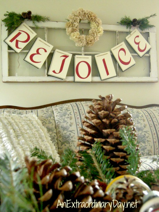 Rejoice Banner : Vintage Window Art for Christmas | AnExtraordianryDay.net