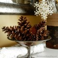 Pine Cones in a Compote and Book Page Snowflakes :: Decorating the Mantel for Winter :: AnExtraordinaryDay.net