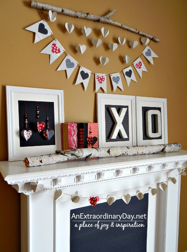 Black and White and Red Valentine Mantel Decor with Book Pages :: AnExtraordinaryDay.net