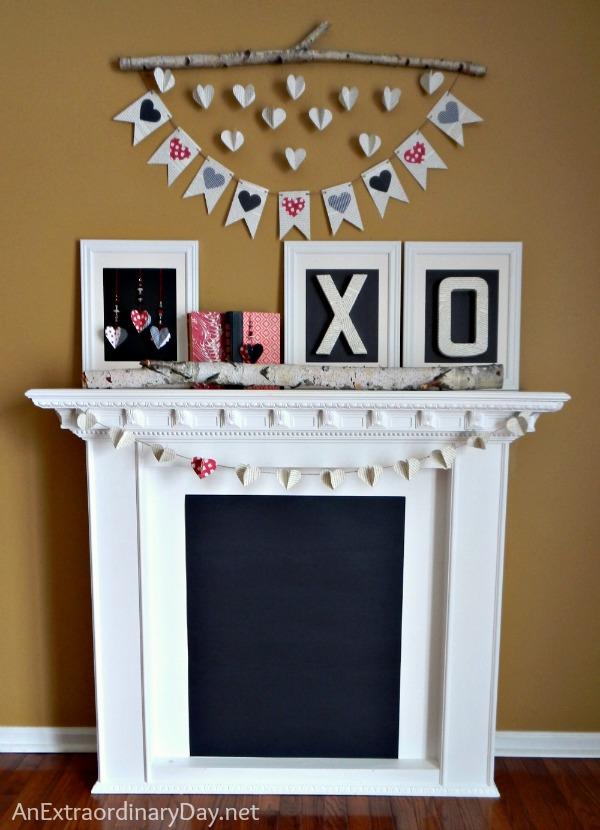 Whimsical Book Page Valentine Mantel :: AnExtraordinaryDay
