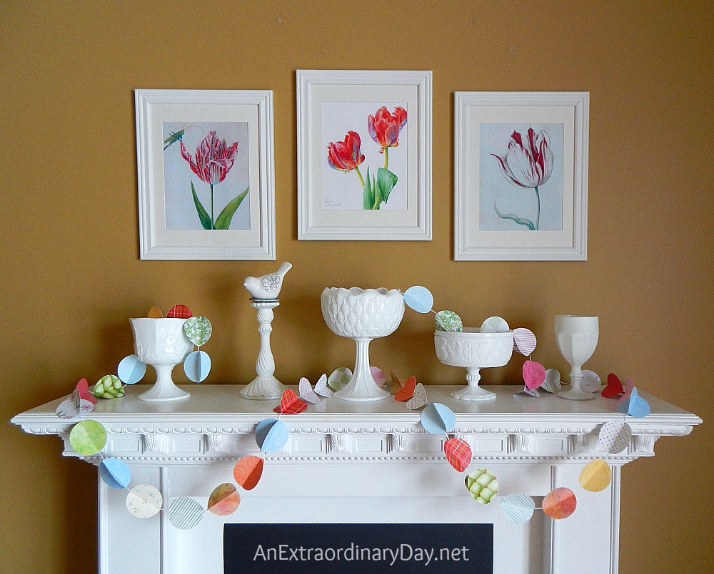 Simple Dramatic White Mantel For Spring With Color Pops An Extraordinary Day