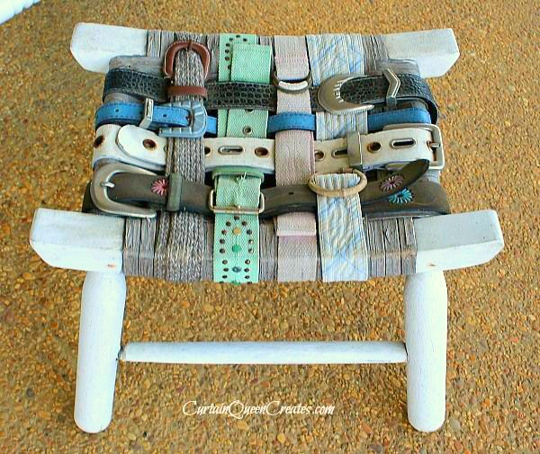 DIY Belt-Covered Footstool  by Curtain Queen Creates a Project Inspired feature at AnExtraordinaryDay.net