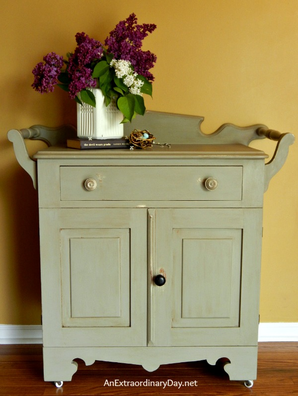 folkart washstand makeover with chalk and wax by AnExtraordinaryDay.net