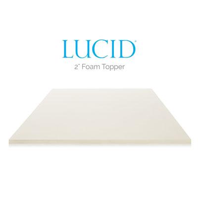 LUCID 2 Inch Foam Mattress Topper – King