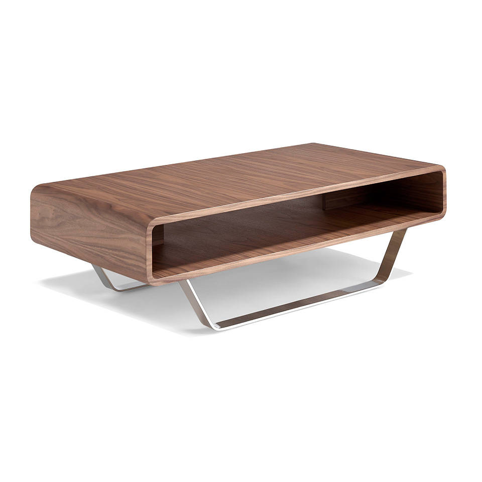 Couchtisch Holz Und Edelstahl Es Mesa De Centro De Madera Chapada En Nogal Con Patas De Acero Inoxidable En Walnut Veneered Wooden Centre Table With Stainless Steel