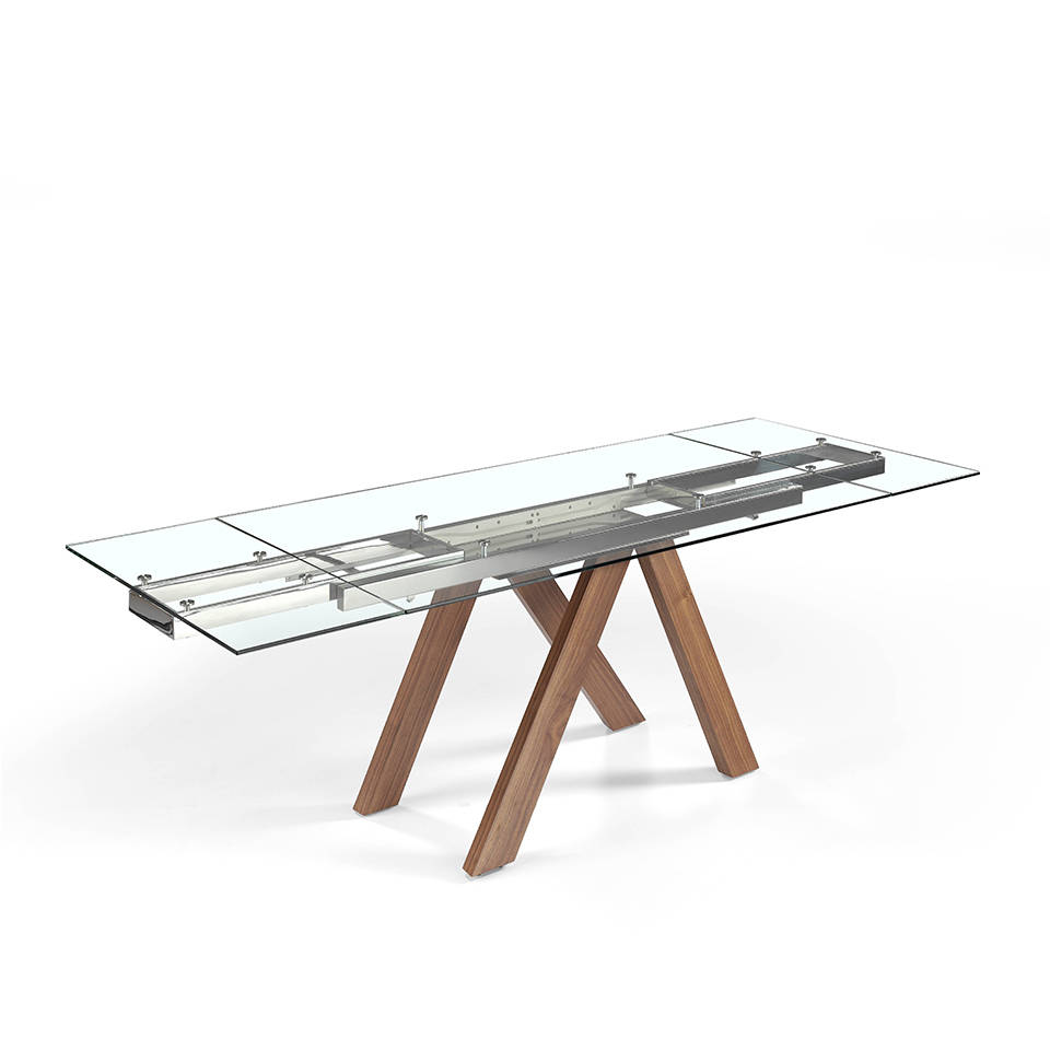 Table Plateau Verre Pied Bois Es Mesa De Comedor Extensible Con Patas De Madera Maciza Y Tapas De Cristal Templado En Extendable Dining Table With Solid Wood Legs And Tempered