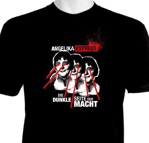 Shirtmotiv mit sexy böser Angela Merkel die Todesstrahlen abfeuert