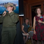 "Amy Brees - AISP Superintendent auctions off her ""Ranger's"" hat with Gail Dolton encouraging the bids"