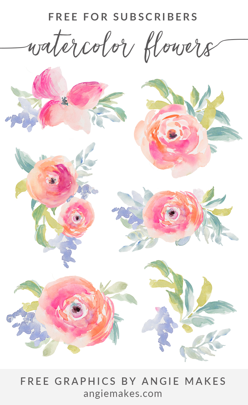 Arte Floral Vetor Free Girly Graphics And Watercolor Clip Art Angie Makes