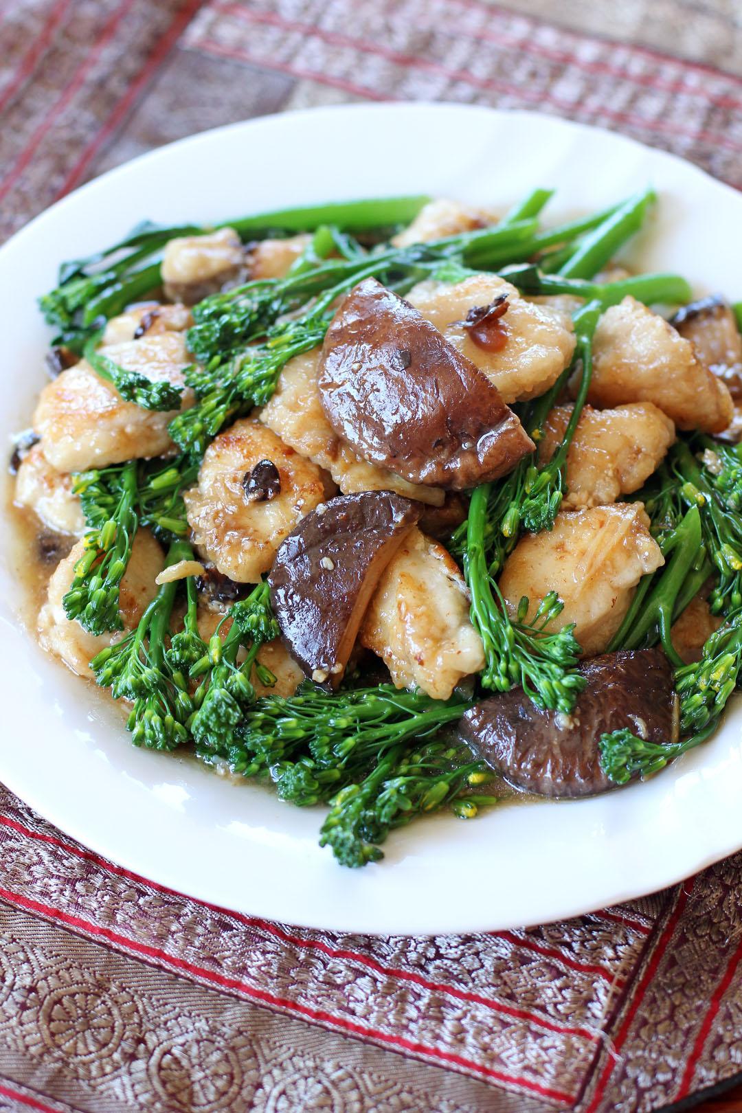 Monk fish and broccolini in shiitake and black bean sauce for Fish in black bean sauce