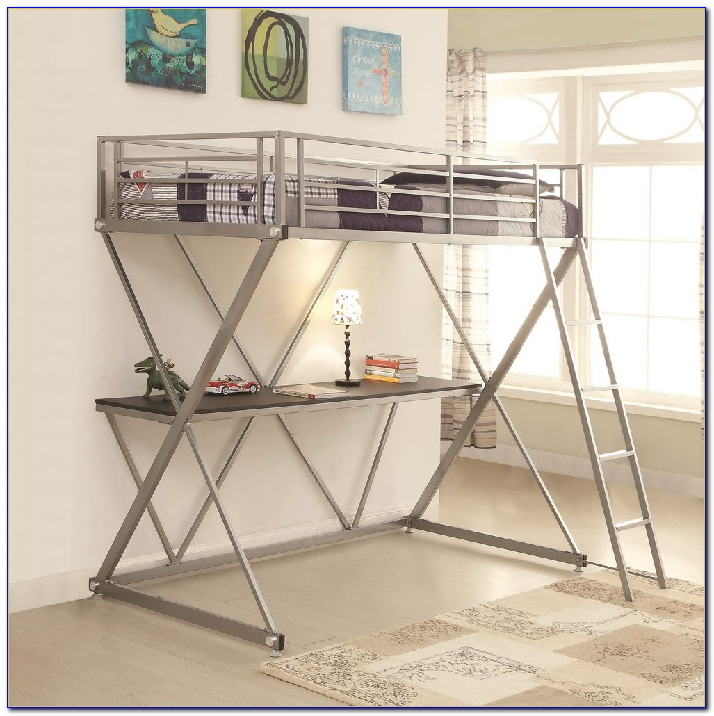Double Bunk Bed With Desk Double Loft Bunk Bed With Desk Desk Home Design Ideas