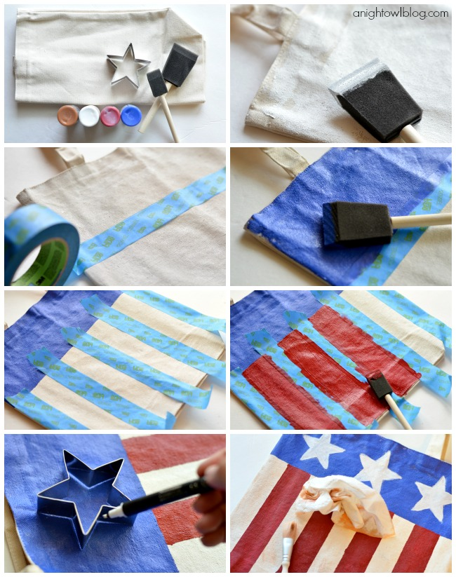 How to make a Red White & Blue Painted Tote Bag