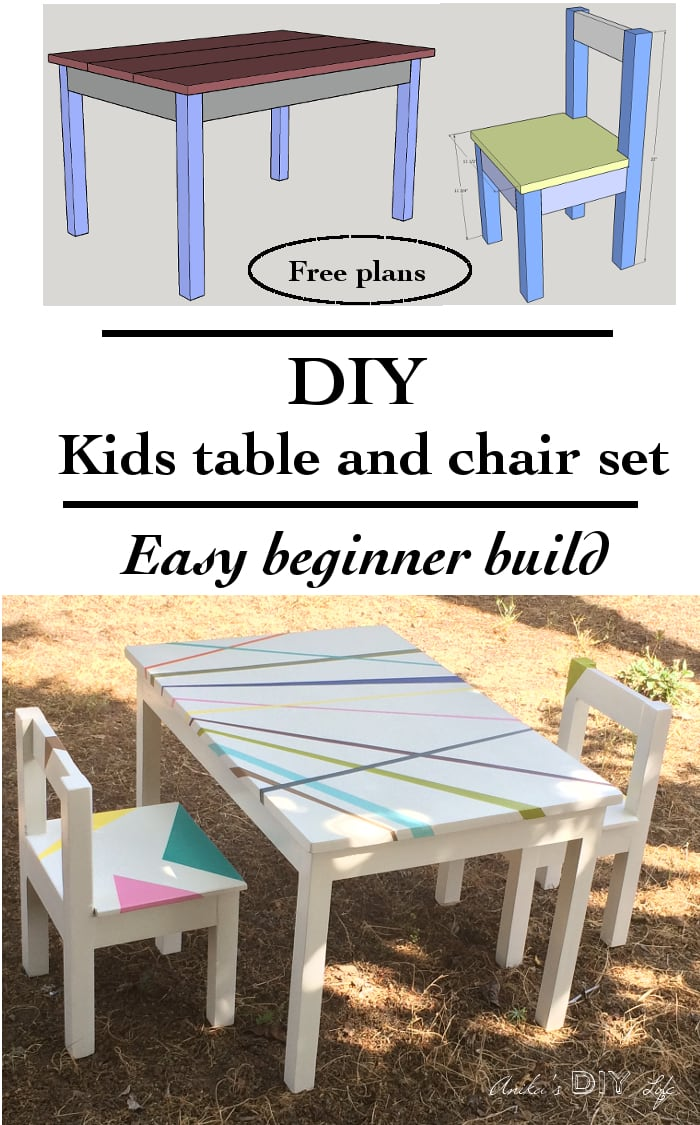 Childrens Table And Chair Set Easy Diy Kids Table And Chair Set With Free Plans Anika S Diy Life