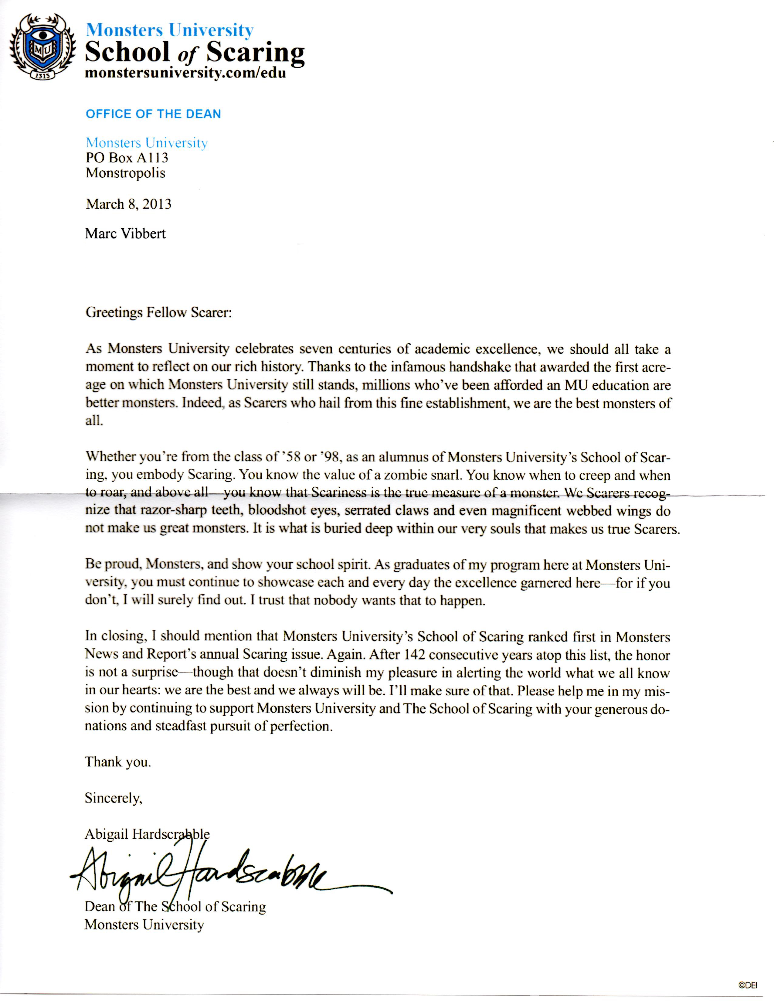 Resignation Letter Sample Format Viral Marketing Mail From Monsters University School Of