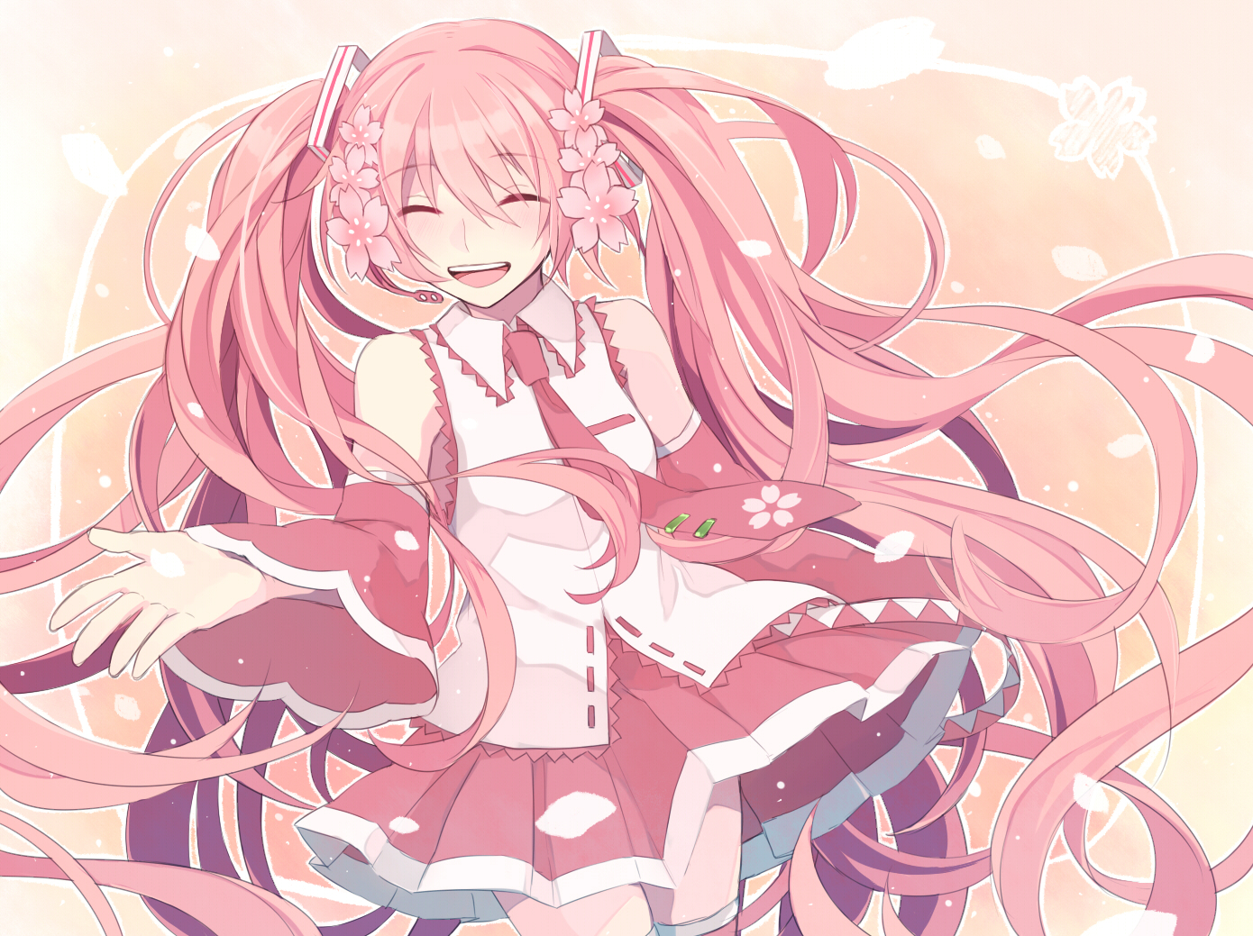 Fall Anime Wallpaper Vocaloid Dphones Hoshiyui Tsukino Long Hair Petals Pink