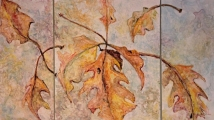 "<h5>Autumn Triptych</h5><p>Watercolor on yupo  18""x29"" Framed  SOLD</p>"